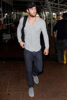 Josh Bowman in my favorite casual look; Henley and Denim.