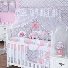 Baby Bedroom, Baby Room Decor, Nursery Room, Girl Nursery, Girl Room, Bedroom Decor, Baby Elephant Nursery, Cot Bumper, Baby Pillows