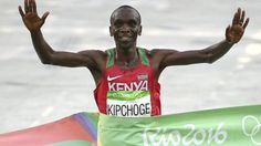 Kenya's Eliud Kipchoge leaves the rest of the field trailing to win the Olympic…