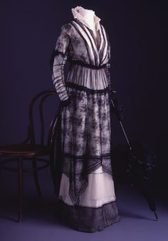 Edwardian Purple Evening Dress With Sheer Black Organza And Floral Lace    c. 1910 From The Powerhouse Museum