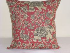 "16"" CUSHION COVER ANIMAL ILIV INDIRA ELEPHANT CRIMSON CHILLI RED COTTAGE FARM #DESIGNER #AnimalPrint"
