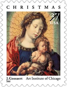US Stamp  2002 -  Christmas features a detail from an oil-on-panel painting created by Jan Gossaert in about 1520. It was reissued in 2003.