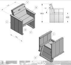 Met behulp van deze bouwtekening zelf een bank maken van steigerhout voor in de tuin mooie - Bank voor pergola ...