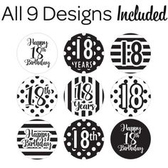 Black and White Birthday Party Favor Stickers make for the perfect birthday party favors. Made in the USA. Click now to learn more. Happy 18th Birthday Quotes, Happy Birthday, 18th Birthday Party, Birthday Party Favors, Plant Decor, Party Time, Mexican Mask, Birthdays, Lettering