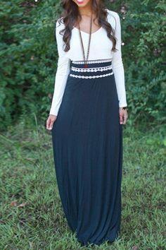 Stylish V-Neck Long Sleeve Color Block Elastic Waist Women's Dress