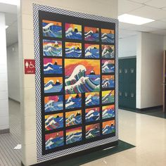 Hokusai, The Great Wave, Elementary Art, Bulletin Boards, Oil pastel, Paint, 5th Grade