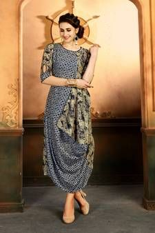 a734aaa42f Buy Multicolor printed rayon kurti party-wear-kurtis online | Party ...