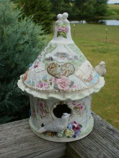 shabby chic cottage broken china mosaic smalti carnival glass stained glass  sici birdhouse