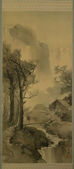 Hazy Mountain Village in the Evening by Shunkyo Yamamoto (1872 - 1933), circa 1900, ink and color on silk, 136.7 x 63.0 cm