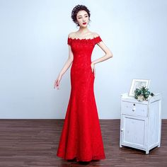 Europe Fashion Elegant New Lace Off Shoulder Party Red Dress Mermaid Floor Length Summer Dresses YAW6001