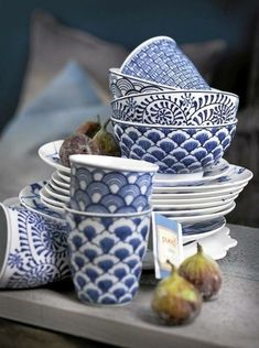 blue & white mugs, bowls and plates