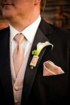 Unique and fun Wine Cork and lily boutonniere   Zest Floral Design - Located in Portland, Oregon