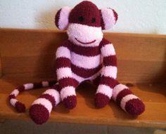 sock monkey plush toy Handmade Stuffed Animal by THEMONKEYSHOP, $30.00