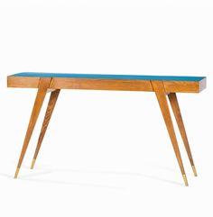 Gio Ponti; Walnut, Lacquer and Brass Console Table, 1950s.