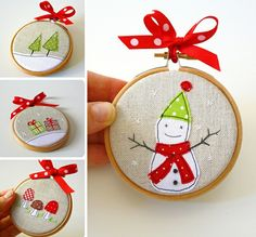 How adorable is this little embroidery quilt hoop as an ornament. Especially…