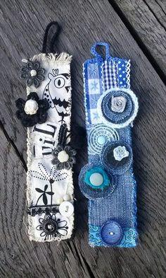 Armbanden van stof opgepimpt met prutteltjes.