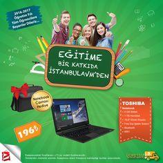 EĞİTİME BİR KATKIDA İSTANBULAVM'DEN  Okula en uygun notebooklar ile birbirinden güzel fiyatlara bir göz atın deriz :) TOSHIBA NOTEBOOK  ♦ İSTANBUL AVM ♦ ___ARADIĞIN HER ŞEY BURADA___ #PEŞİNATSIZ #KREDİKARTSIZ #15AY #TAKSİTLİ #ALIŞVERİŞ #İSTANBULAVM #ARADIĞINHERŞEYBURADA