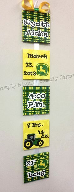 John Deere Style Birth Announcement for by SimplySignsByJess, $50.00