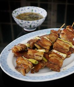 Grilling Recipes, Gourmet Recipes, Asian Recipes, Cooking Recipes, Healthy Recipes, Pork Skewers, Pork Belly Recipes, Skewer Recipes, Food Stall