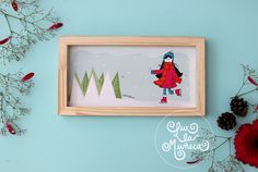 CUADRO LUX INVIERNO  Lux la Muñeca. Lámina ilustrada enmarcada en madera. #ilustracion #illustration #pink #muñeca #deco #kids  Facebook: lux la muñeca Ventas : tienda.citarte.net