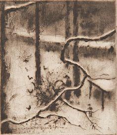 Reynek Bohuslav   Zima   Aukce obrazů, starožitností   Aukční dům Sýpka Printmaking, Graphic Art, Modern Art, Abstract, Drawings, Brown, Garden, Artwork, Prints