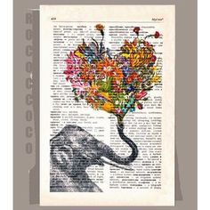 $9.95 - HAPPY Mothers day- ORIGINAL ARTWORK printed on Repurposed Vintage Dictionary page -Upcycled Book Print