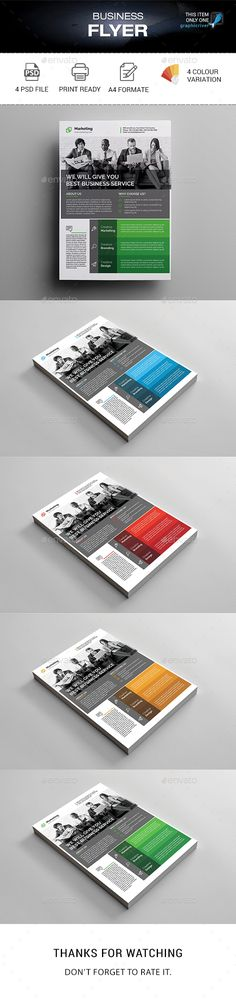 Business Flyer by madmindgraphics Features :Psd Files 4 Color variationEasy Customizable and Editable Print Size A4 Format with Bleed 3mm 300 Dpi Print Ready Format