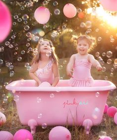 Pretty In Pink!!! Bebe'!!! Darling little girls dressed all in pink and blowing pink bubbles...what fun!!!
