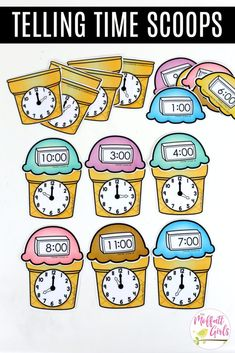 Telling Time Ice Cream Scoops- pair the ice cream scoop with the matching cone with digital and analog clocks for time to the hour. Kindergarten Math Made Fun! Telling Time Activities, Kindergarten Math Activities, Teaching Time, Math Games, Teaching Math, Learn To Tell Time, Time To The Hour, Clock For Kids, Second Grade Math