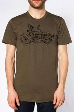 Drawing of an Indian Motorcycle, black ink on army American Apparel 100% cotton tee