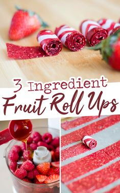 3 Ingredient Fruit Roll-Ups, your favorite childhood snack without all the refin. - 3 Ingredient Fruit Roll-Ups, your favorite childhood snack without all the refined sugar and preser - Dessert Aux Fruits, Snacks Saludables, Dehydrated Food, Dehydrated Strawberries, Dehydrated Apples, Dried Strawberries, Dried Fruit, Keto, Dehydrator Recipes