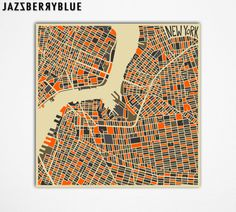 NEW YORK MAP (Brooklyn and Lower Manhattan) Giclee Fine Art Print, Modern Abstract, Wall Art, Home Decor (13x13) by Artist Jazzberry Blue