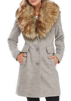 6969de52a8b Kaari Blue™ Fur Trim Faux Wool Coat Wool Coat