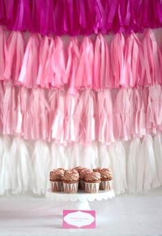 pink ombre tassel back drop
