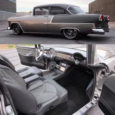 Fesler 1955 Chevy 210 with custom interior. #feslerbuilt #hotrodclassiccars