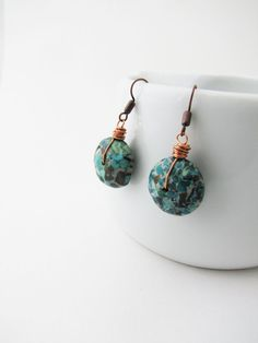 Simple  teal blue dangle earrings. Wire wrapped. Sale by Nuann