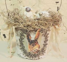 Easter Egg Basket Shabby Chic Vintage Hare Rabbit Bunny Bird Nest Spring Decor Peat Pot
