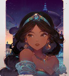 Nàng công chúa Princesa Jasmine, Dreamworks, Disney Pixar, Disney Fan Art, Disney Cartoons, Disney Love, Disney Characters, Aladdin, Anime Princess
