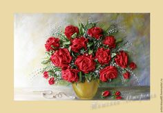 """Купить Вышивка лентами """"Розы любви"""" - ярко-красный, розы, ландыши, картина с розами"""