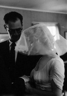 A rare picture of Marilyn and Arthur on their wedding day taken by Milton Greene, June 29th 1956.