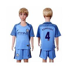 Manchester City Trøje Børn 16-17 Vincent #Kompany 4 Hjemmebanetrøje Kort ærmer,199,62KR,shirtshopservice@gmail.com