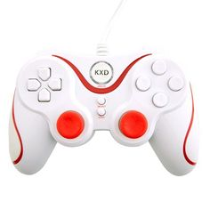 Dual-Shock USB Wired PC Game Joypad Controller White - Aulola Online Store $9.44