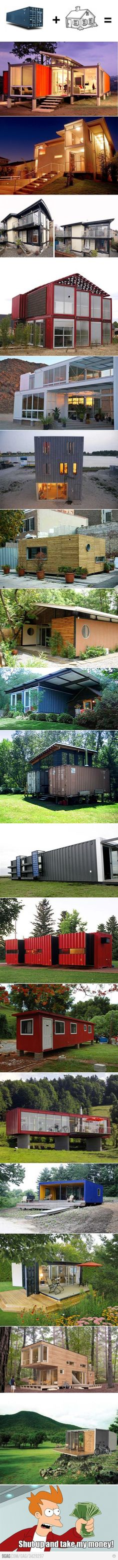 I want one of these container homes. More Container Homes Design Container Buildings, Container Architecture, Exterior Design, Interior And Exterior, Container Design, Cargo Container, Container Cabin, Shipping Container Homes, Shipping Containers