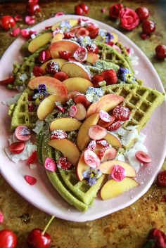 Matcha Waffles (Gluten Free and Vegan) from HeatherChristo.com