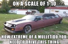 You would need a great mullet in order to pull off driving this Camaro limo around town. Really Funny Memes, Stupid Funny Memes, Funny Laugh, Funny Relatable Memes, Hilarious, Funny Cars, Sick Meme, Funny Stuff, Truck Memes