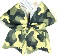 Bows by April - Camo Sublimated Cheer Bow, $15.00 (http://www.bowsbyapril.com/camo-sublimated-cheer-bow/)