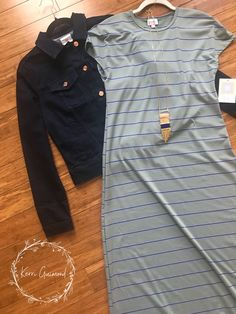 Over 150 LuLaRoe Outfit ideas posted! Striped Maria Maxi dresses and Denim Harvey Jackets! Come check them out at shopkerriguimond.com!!