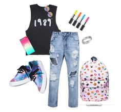 """""""Multicolor outfit"""" by lelemer1234 on Polyvore featuring mode, Vans, NIKE, Linda Farrow, Worthington et Junk Food Clothing"""
