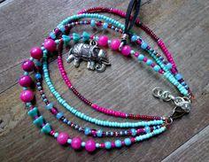Elephant anklet hippie beach jewelry leather tassel by anainc, $45.00