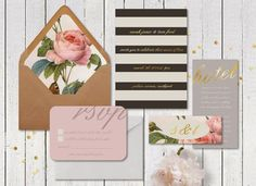 pink, gold, black and white invitations - Google Search